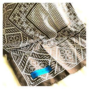 YSL silk scarf 90cm with Brown Geometric Pattern